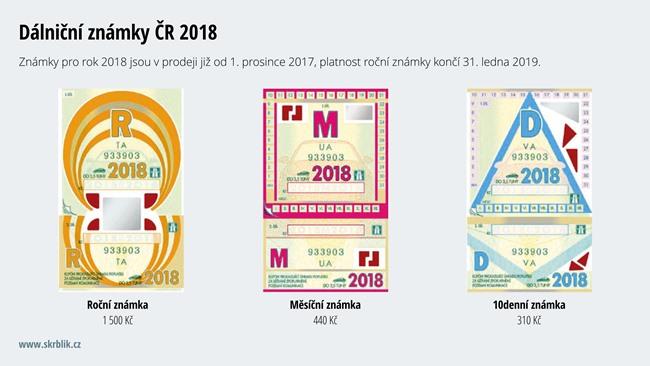 Dálniční známka ČR 2018