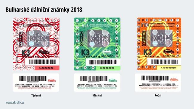 Dálniční známky Bulharsko 2018