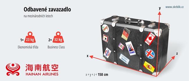 Odbavená (zapsaná) zavazadla u Hainan Airlines 2018