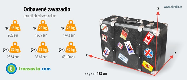 Odbavená (zapsaná) zavazadla u aerolinek Transavia 2018