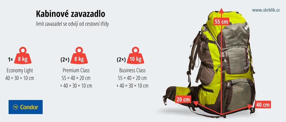 Příruční / kabinová / palubní zavazadla u Condor 2018