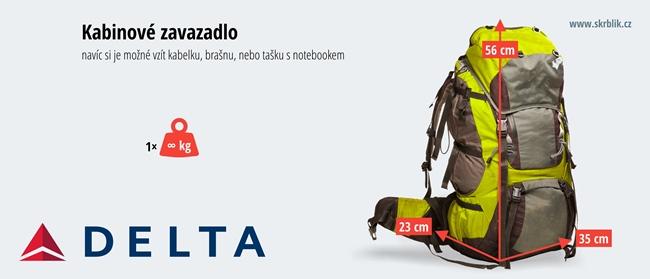 Příruční / kabinová / palubní zavazadla u Delta Air Lines 2018
