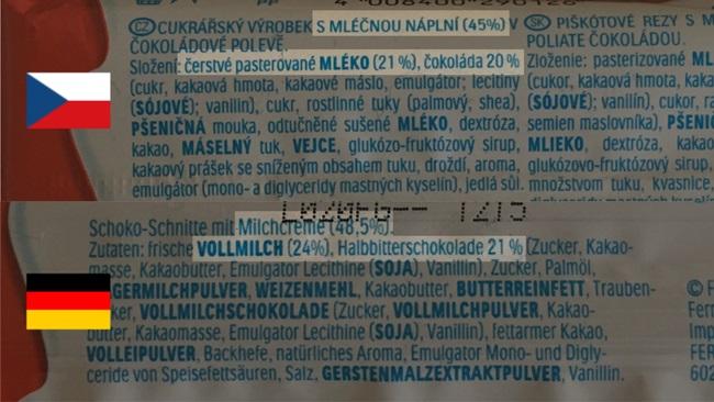 Stejný výrobek koupený v ČR a v Německu, složení se liší