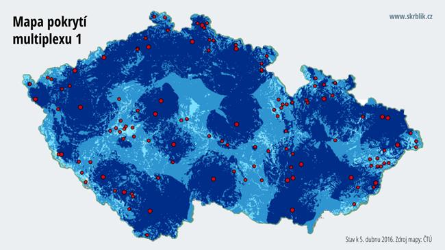 Mapa pokrytí multiplexu 1