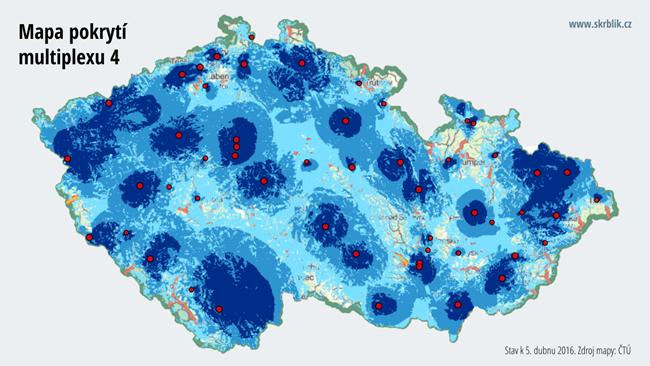 Mapa pokrytí multiplexu 4