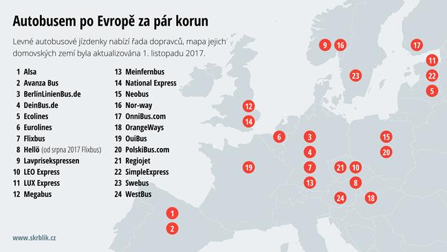 Levné autobusové jízdenky po Evropě