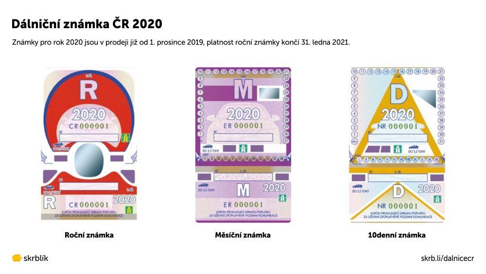 Dálniční známky ČR 2020