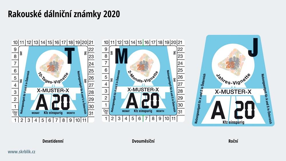 Dálniční známky Rakousko 2020