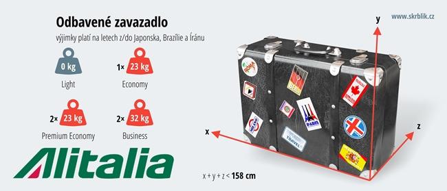 Odbavená (zapsaná) zavazadla u Alitalie 2019