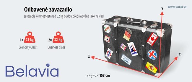 Odbavená (zapsaná) zavazadla u Belavia 2019