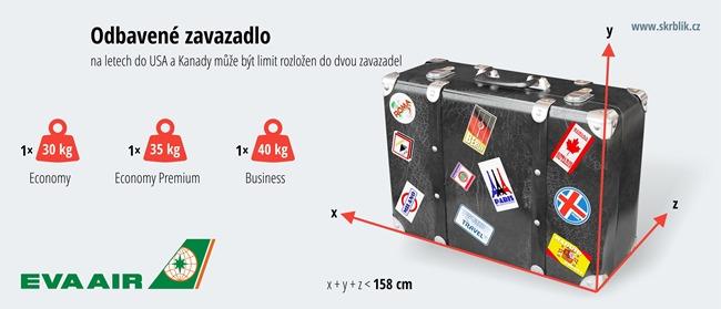Odbavená (zapsaná) zavazadla u Eva Air 2020