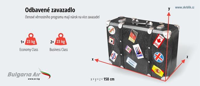 Odbavená (zapsaná) zavazadla u Bulgaria Air 2020