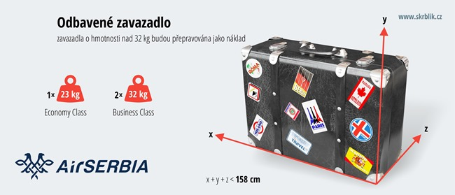 Odbavená (zapsaná) zavazadla u Air Serbia 2019