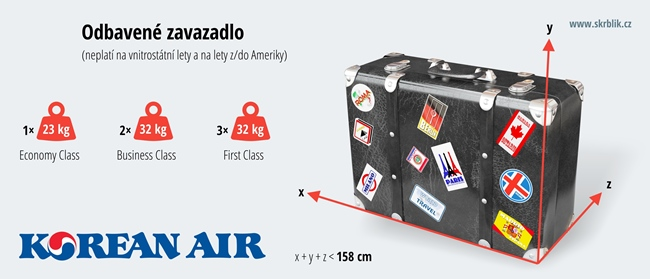 Odbavená (zapsaná) zavazadla u Korean Air 2018