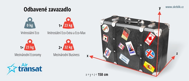 Odbavená (zapsaná) zavazadla u Air Transat 2018