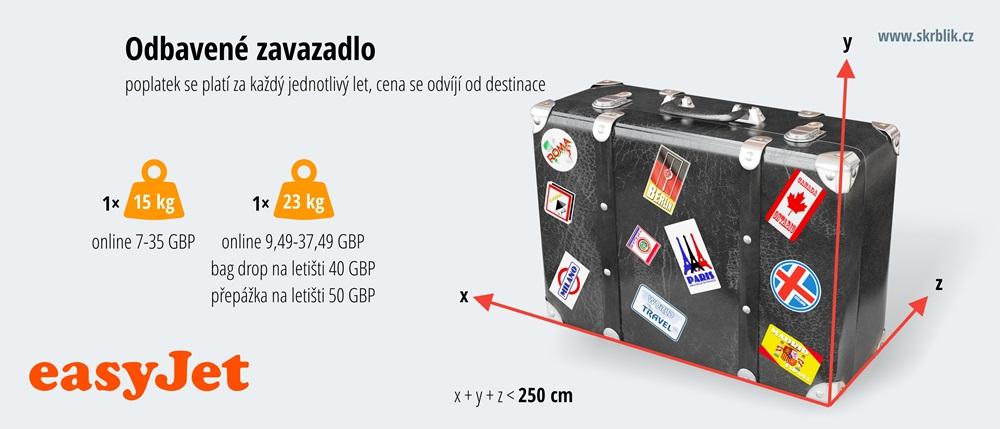 Odbavená (zapsaná) zavazadla u easyJet 2020