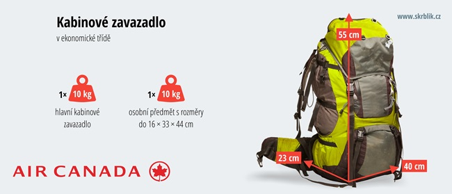 Příruční / kabinová / palubní zavazadla u Air Canada 2018