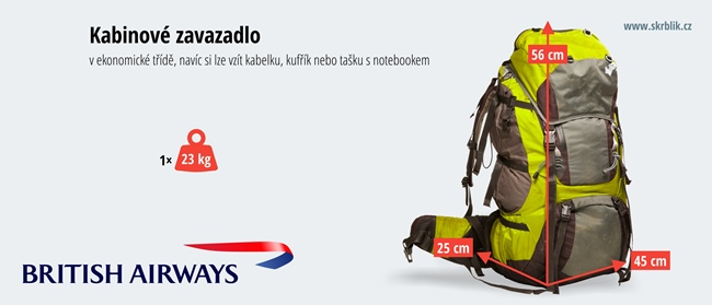 Příruční / kabinová / palubní zavazadla u British Airways 2020