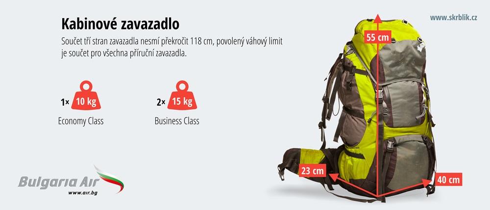 Příruční / kabinová / palubní zavazadla u Bulgaria Air 2020