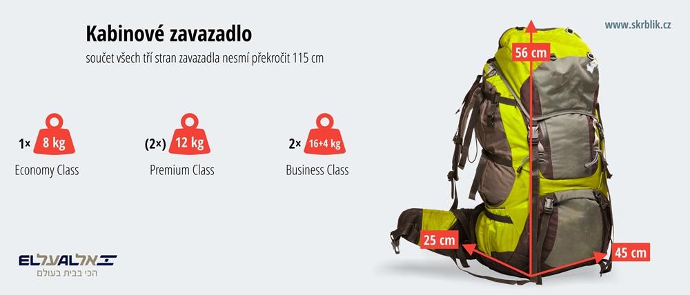Příruční / kabinová / palubní zavazadla u El Al 2020