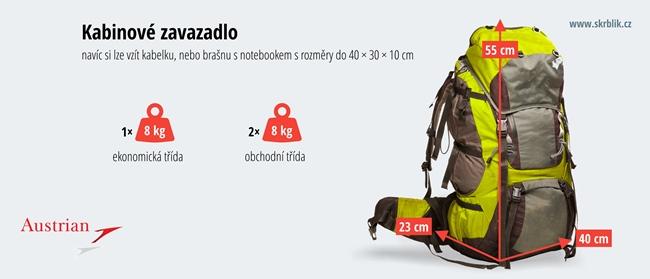 Příruční / kabinová / palubní zavazadla u Austrian Airlines 2020