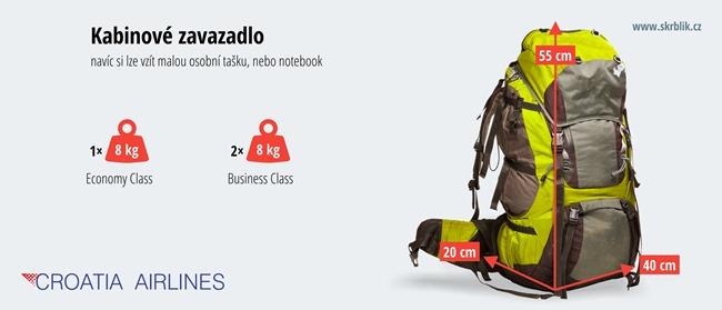Příruční / kabinová / palubní zavazadla u Croatia Airlines 2020
