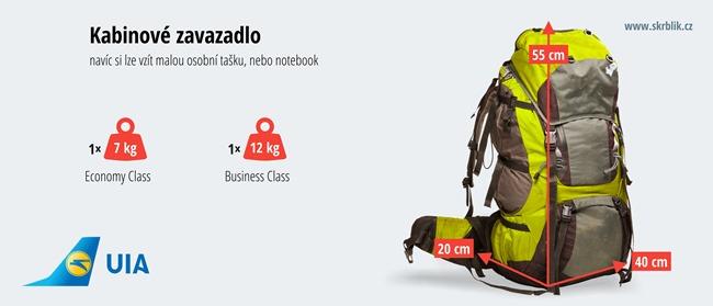 Příruční / kabinová / palubní zavazadla u Ukraine International Airlines 2020