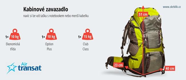 Příruční / kabinová / palubní zavazadla u Air Transat 2020